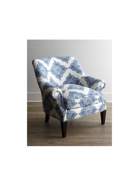 Horchow - Blue Roxi Chair - A bold blue and white pattern ensures this chair will stand out in any decor. Sure to please with its timeless grace and styling. Exclusively ours. Handcrafted of select hardwoods. Cotton/linen upholstery. Nailhead trim. Feather/down seat. Sin...
