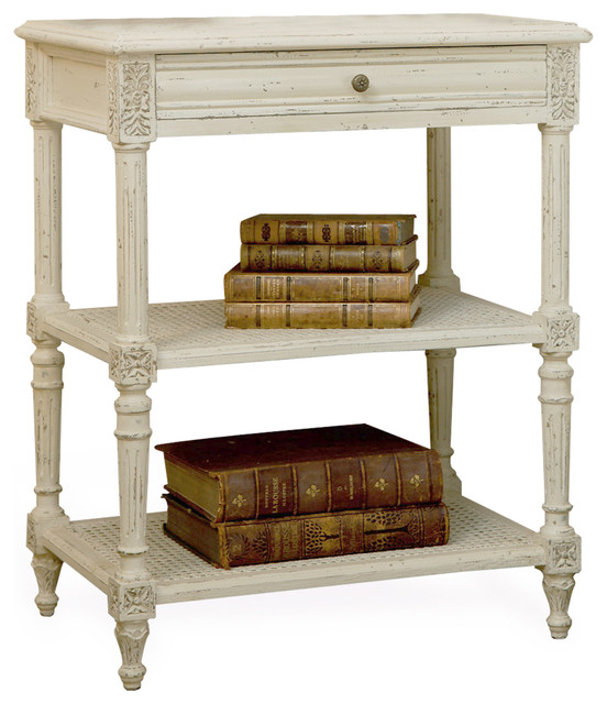 Napoleon french country old creme caned nightstand side for French nightstand bedside table