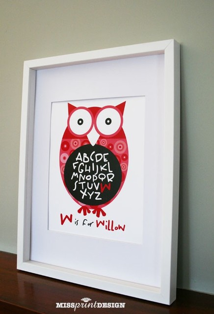 Owl Baby Nursery Art by Missprint Design modern nursery decor