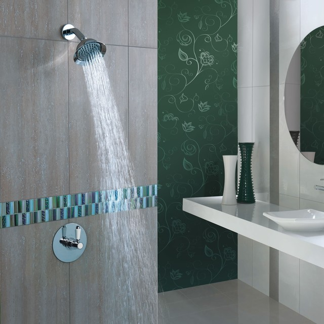 """5"""" Rose Shower Head with Square Sequential Valve contemporary-showerheads-and-body-sprays"""