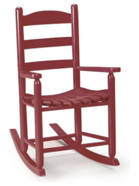"""Troutman - Troutman's Big Kid Rocking Chair - 52-FIN - Shop for Childrens Rocking Chairs from Hayneedle.com! Children love things designed to be """"just their size """" and this handsome oak rocker is the perfect fit for any young """"big boy"""" or """"big girl"""" you know. It's handcrafted by The Troutman Chair Co. in the USA with artisans who truly care about quality. Designed to be handed down as an heirloom it features a traditional arched ladder back a contoured seat and Swelled Joint Construction that uses NO GLUE or harsh chemicals. The joints actually get tighter with time and the notched dowels make it nearly impossible to be pulled out. Item shown in Deluxe Red. See the color swatches above for additional colors. You'll appreciate the craftsmanship and detail that goes into this chair. Troutman Chair Co. established in 1924 uses sturdy oak stock from local loggers as they clear land for developing subdivisions and does not cut trees just to make furniture. The logs are brought to the on-site mills to ensure quality control and a link to their time-honored way of doing things. Ships partially assembled. Recommended for 2 years and up. Shown above in Deluxe red. Click swatches above to see other finishes."""