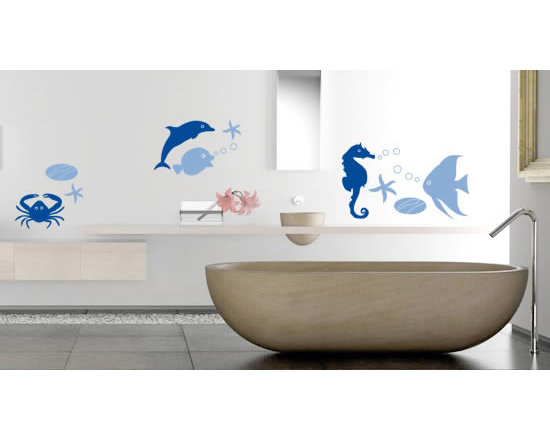 Pack wall stickers - Ocean wall decal is a pack of several cool and cute fish, sea stars and crab stickers that you can stick the way you like on your bathroom, shower, restroom walls. This is the perfect pack to create an ocean or sea theme in your house or dorms with a small budget you can redecorate an entire room which wouldn't be possible with regular paint or wall papers. It comes in 3 sizes, 24 different colors and starting price of $34.