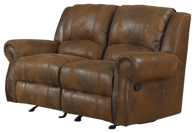 Homelegance Quinn Double Glider Reclining Loveseat In Brown Microfiber Traditional Loveseats