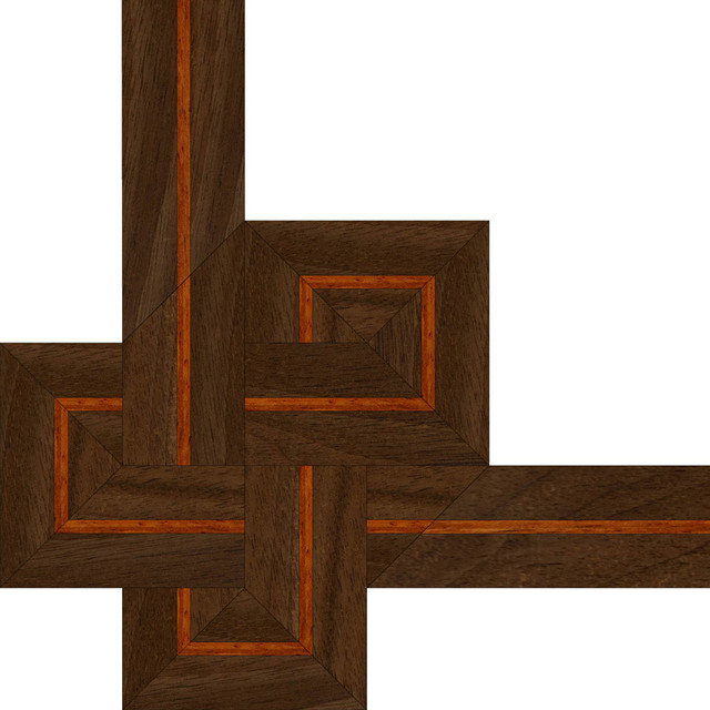 Oshkosh designs french knot inlay border and corner Hardwood floor designs borders