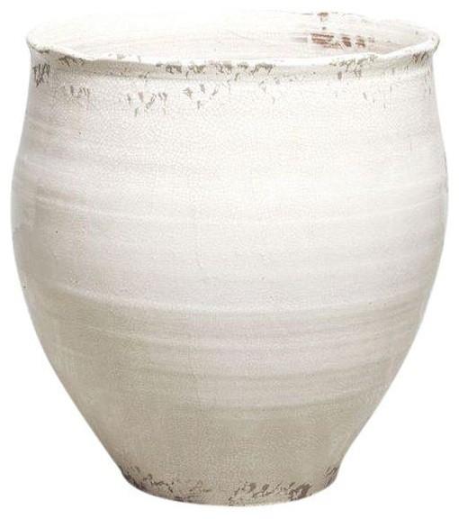 Pre Owned Large White Ceramic Pot Or Planter Modern