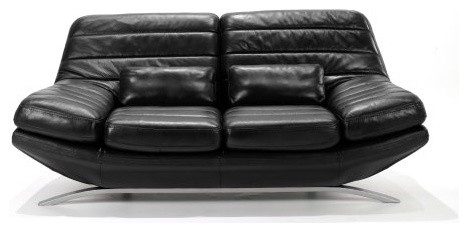 Armen Living Riviera Black Leather Loveseat contemporary-loveseats