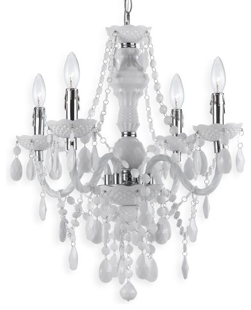 Zoe Global Bazaar Opaque White 4 Light Mini Chandelier transitional-chandeliers