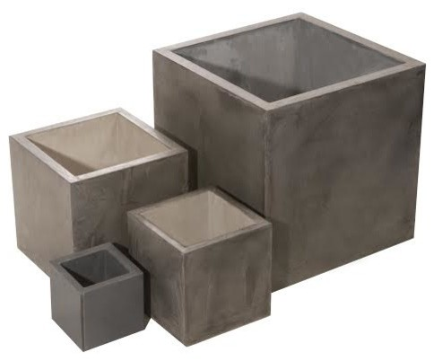 """Indo Pot in Iron, 24"""" contemporary-outdoor-planters"""