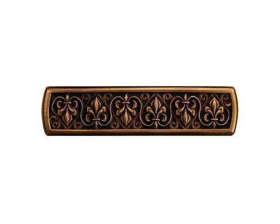 """Inviting Home - Fleur-de-Lis Pull (antique copper) - Hand-cast Fleur-de-Lis Pull in antique copper finish; 3-7/8""""W x 1""""H; Product Specification: Made in the USA. Fine-art foundry hand-pours and hand finished hardware knobs and pulls using Old World methods. Lifetime guaranteed against flaws in craftsmanship. Exceptional clarity of details and depth of relief. All knobs and pulls are hand cast from solid fine pewter or solid bronze. The term antique refers to special methods of treating metal so there is contrast between relief and recessed areas. Knobs and Pulls are lacquered to protect the finish. Detailed Description: The Fleur-de-lis means """"flower of the lily"""" It was used to represent French royalty. It was said that the king of France Clovis who started using the symbol of the Fleur-de-lis because the water lilies helped guide him to safety and aided him in winning a battle. The design in the Fleur-de-Lis pulls is arranged in alternating positions of the Fleur-de-lis. These pulls are a great match for the Fleur-de-lis knobs which have the Fleur-de-lis pattern arranged in a circle. The different shapes of decorative hardware make the cabinet doors and drawers interesting to look at."""