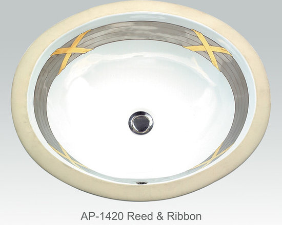 "Hand Painted Undermounts by Atlantis Porcelain - ""REED & RIBBON"" Shown on AP-1420 white Monaco Medium undermount 17-1/4""x14-1/4""available on combinations of burnished gold or platinum and bright gold or platinum on any of our sinks."