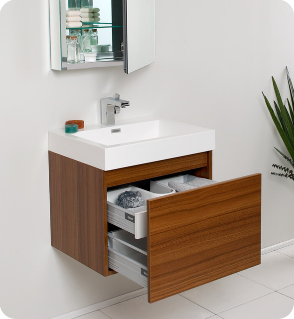 23 5 Nano Small Single Vanity With Mirror Teak FVN8006TK Modern