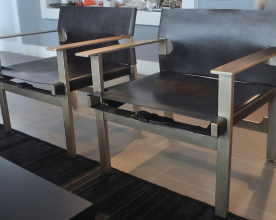 Showroom Pieces - Leather Accent Chairs with double straps and large working buckle, Brushed Stainless Steel