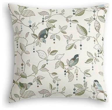 Aqua Country Bird Custom Euro Sham traditional-pillowcases-and-shams