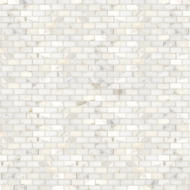 Staggered Calacatta Mosaic traditional-tile