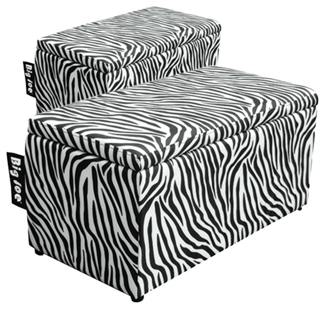 Comfort Research Big Joe 2 In 1 Bench Ottoman In Zebra Contemporary Accent And Storage