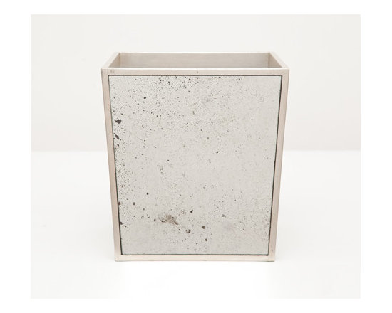 Atwater Wastebasket-Rectangular - Your bathroom should reflect your exquisite taste! Antiqued mirror trimmed with silver-leafed wood evokes a charming depth. Choose a wastebasket or tissue holder for a dash of vintage chic.
