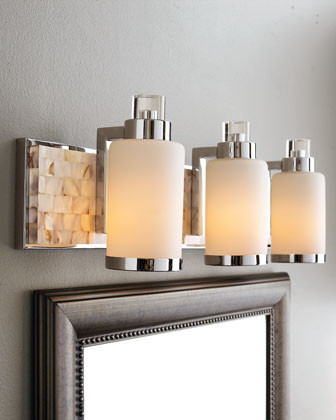 Mother-of-Pearl Vanity Light Bar contemporary wall sconces
