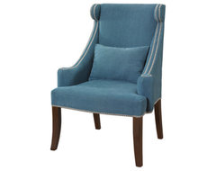 Peacock Contemporary Wingback Accent Chair With Chrome Nailhead contemporary armchairs