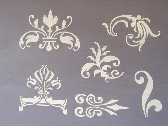 Raised Plaster Small Designs 2 Stencil Set Traditional Stencils Other Metro on sunroom furniture
