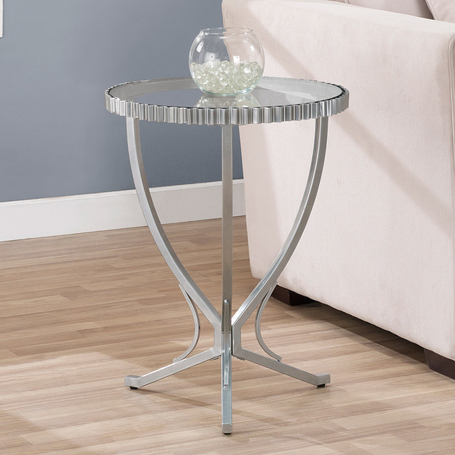 Scalloped Metal End Table contemporary-bar-tables