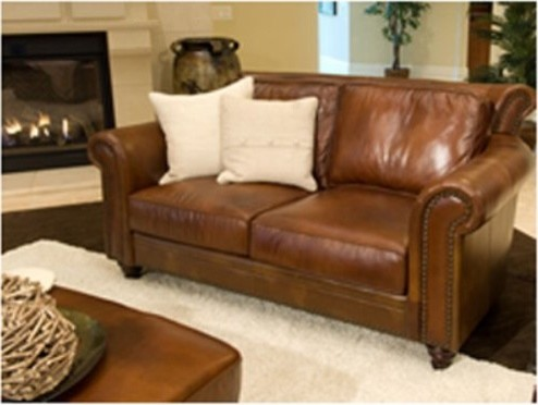 Paladia Top Grain Leather Loveseat in Rustic traditional-loveseats