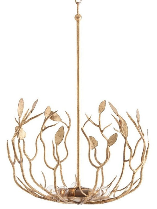 Arteriors Upton Pendant - Nature inspired branches and leaves bowl shaped 5-light iron pendant finished in antiqued gold leaf. Canopy and rod included.