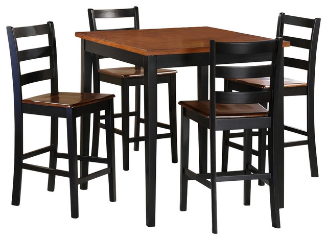 Homelegance lynn 5 piece square counter dining room set in for Traditional black dining room sets