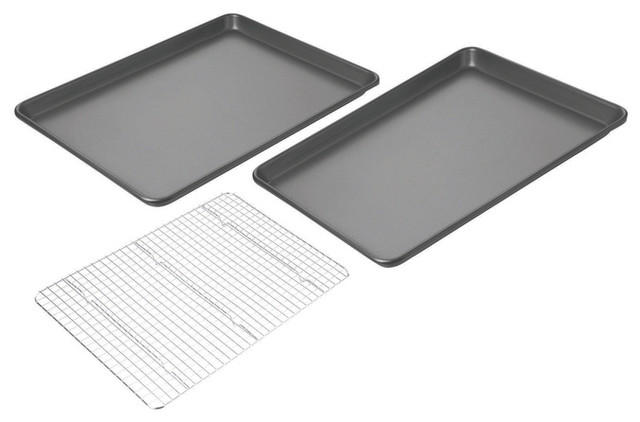 Chicago Metallic Non-Stick Set of 2 Jelly Roll Pans with Cooling Rack contemporary-cookie-sheets