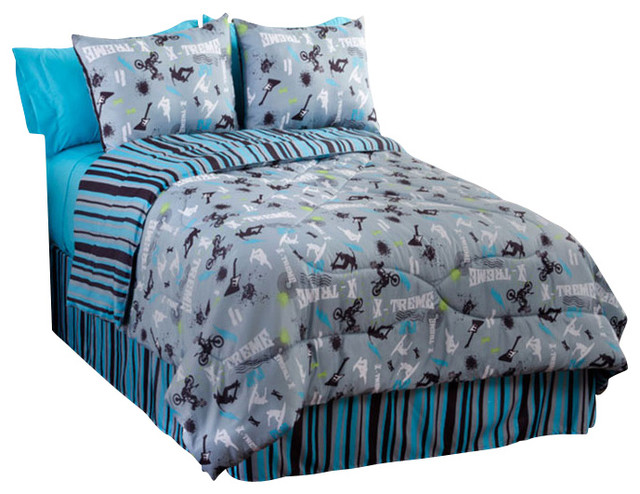 Extreme Sports Comforter Set Motocross 4 Piece Queen Bedding