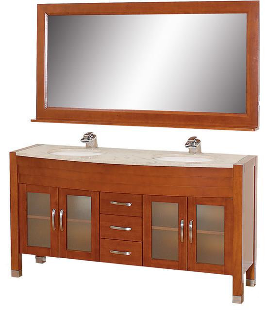 "Daytona 63"" Double Vanity w/ Ivory Marble Top & White Porcelain Undermount Sink modern-bathroom-vanities-and-sink-consoles"