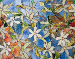 Clematis Stained Glass Window Film traditional-cellular-shades
