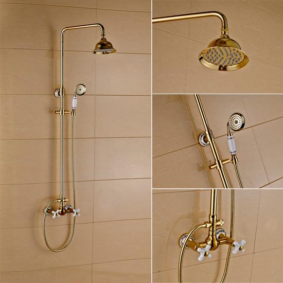 Hand shower and rain shower head bathroom gold shower for Body spray shower systems