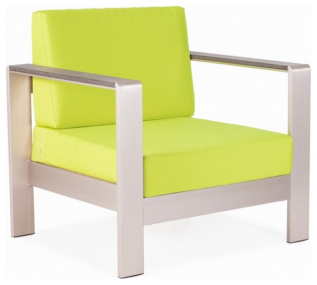 Zuo Cosmopolitan Green Cushion Brushed Steel Outdoor Armchair contemporary-outdoor-cushions-and-pillows