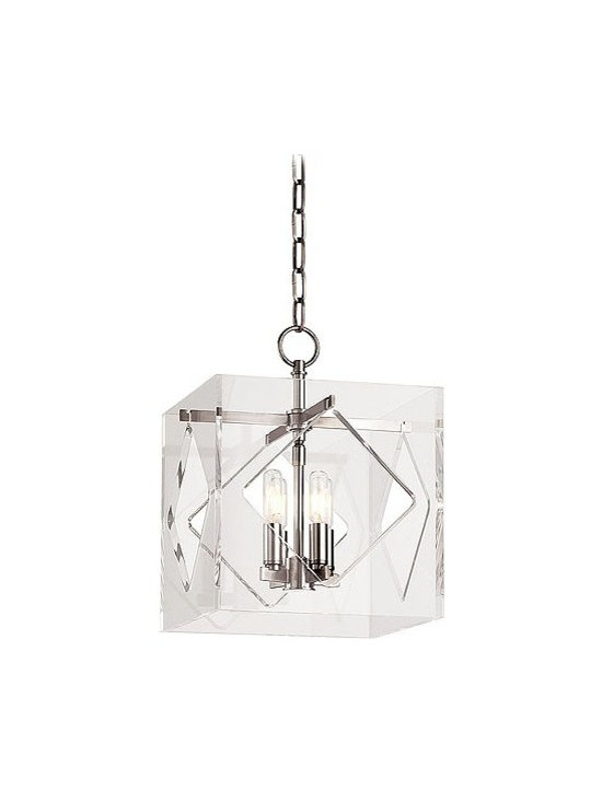 "Hudson Valley Lighting - Hudson Valley Lighting | Travis Four Light Pendant - Design by Hudson Valley, 2014.Mixing the timely with the timeless, American designers created an ultra glamorous look that defines the silver screen's golden age. The Travis Four Light Pendant draws inspiration from Hollywood Regency style by encasing a sleek and elegantly proportioned four candelabra chandelier in a cut and polished cube of modern acrylic glass. Hook shade attachment. Supplied with a 54"" chain."