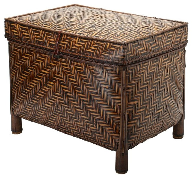 Decorative Bamboo Storage Box : Bamboo trunk with cotton liner brown stain asian