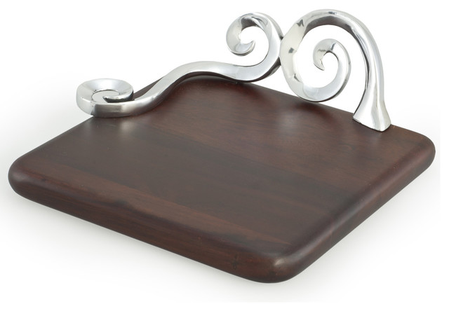 Polished Aluminum and Sheesham Wood Cheese Board contemporary-serving-dishes-and-platters