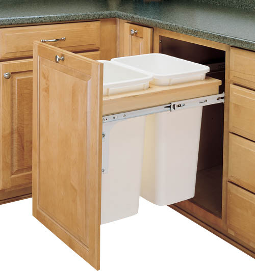 Top Mount Pullout Waste Container White Traditional Kitchen Trash Cans