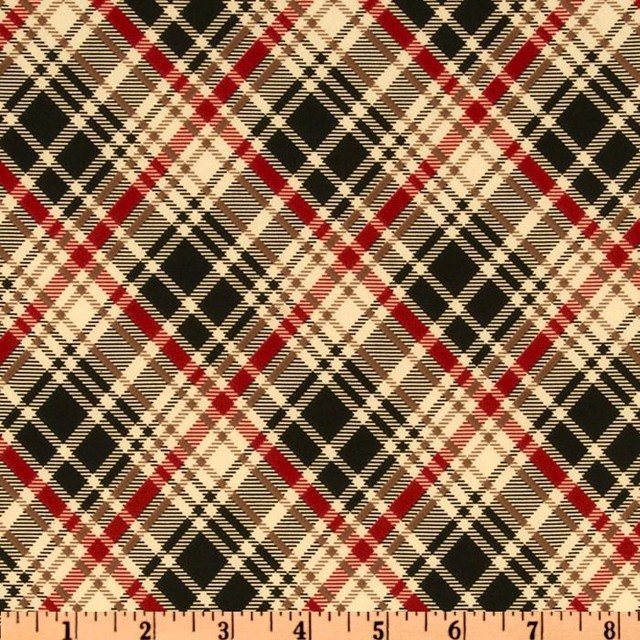 Stretch Jersey ITY Knit British Plaid Natural/Red/Black traditional fabric