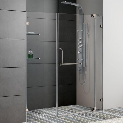 "Vigo VG6042BNCL60 Clear Glass / Brushed Nickel  60"" Frameless Shower contemporary-showerheads-and-body-sprays"