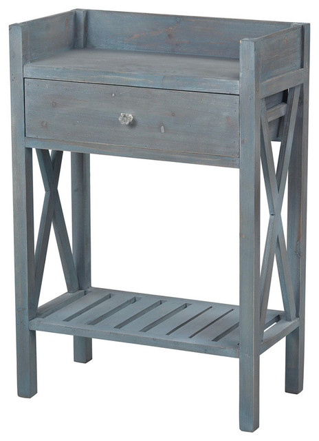 Sterling Industries 137-009 Biscayne-Single Drawer Side Table w/ Bottom Shelf contemporary-side-tables-and-end-tables