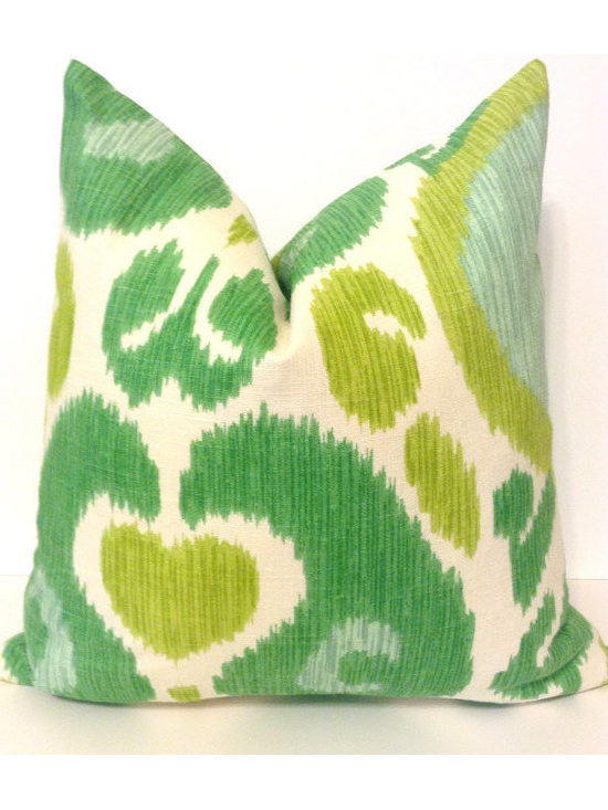 Pillow, Green Ikat by House of Pillows -