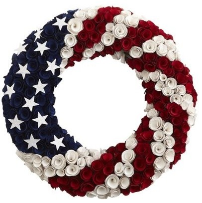 Patriotic Wood Curl Wreath Contemporary Wreaths And