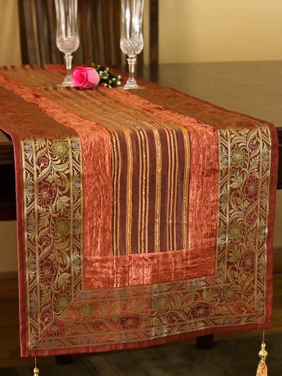 """Elegant Table Runners - Gorgeous Velvet and Silk """"Arabian Table Runner"""" Salmon color. Beautifully hand crafted in India. Orange Gold"""