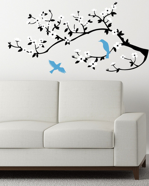 Lovely Birds on a Cherry Branch Decal contemporary-wall-decals