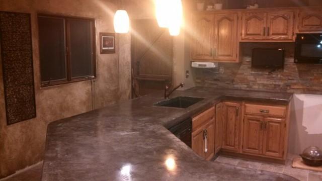 concrete countertops rustic kitchen by river 39 s edge