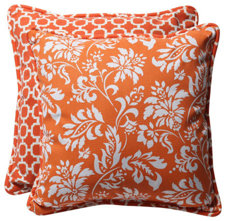 Decorative Orange/White Geometric/Floral Toss Pillows Square Reversible, Set of eclectic-bed-pillows