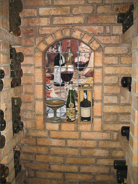 marble wall mural in wine cellar niche rustic santa barbara by pacifica tile art studio. Black Bedroom Furniture Sets. Home Design Ideas