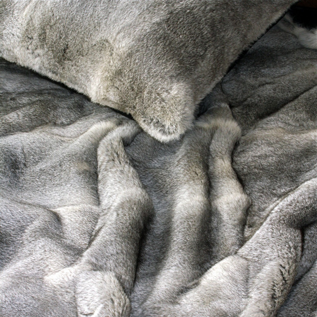 Look - Double Thickness Rabbit Fur Throw modern-throws