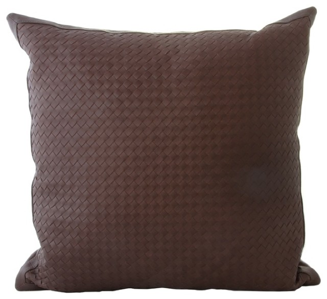 Decorative Pillows Leather : Woven Leather Throw Pillows - Contemporary - Decorative Pillows - los angeles - by Gracious Style