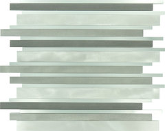 Metallic Weather Orbit  Random Bricks Stainless Steel Backsplash Glossy & Brushe modern-tile
